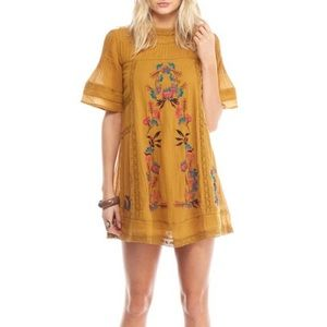 Free people embroidered mustard dress
